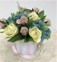 Yellow and Mauve Roses with Hydrangeas Petite Silk Floral Arrangement/RA07