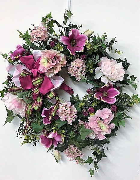 Fuschia and Pink Silk Floral Summer Wreath/Val26 - April's Garden Wreath