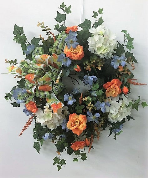 Light Blue, Orange and Cream Silk Floral Late Summer Early Fall Wreath/Ver101 - April's Garden Wreath