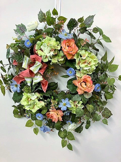 Blue. Peach and Light Green Silk Floral Summer Front Door Wreath/Ver75 - April's Garden Wreath