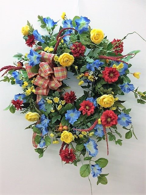 Red, Yellow and Blue Silk Floral Summer Wreath/Ver63