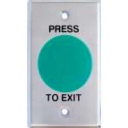 Green Mushroom Exit Button, Large SS Plate, NO/NC