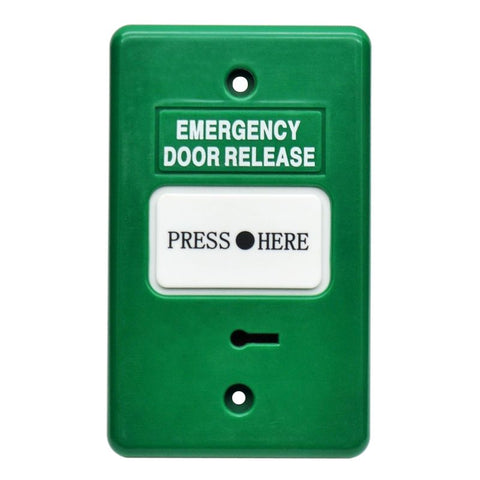 Resettable Emergency Dr Release GREEN IP55 GPO 2xSPDT