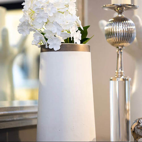 Buy Tall Encircle Vase in White with Platinum Online at best prices in Riyadh