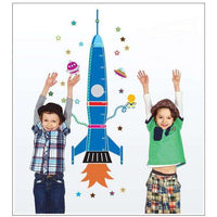 Space rocket and stars growth chart wall sticker