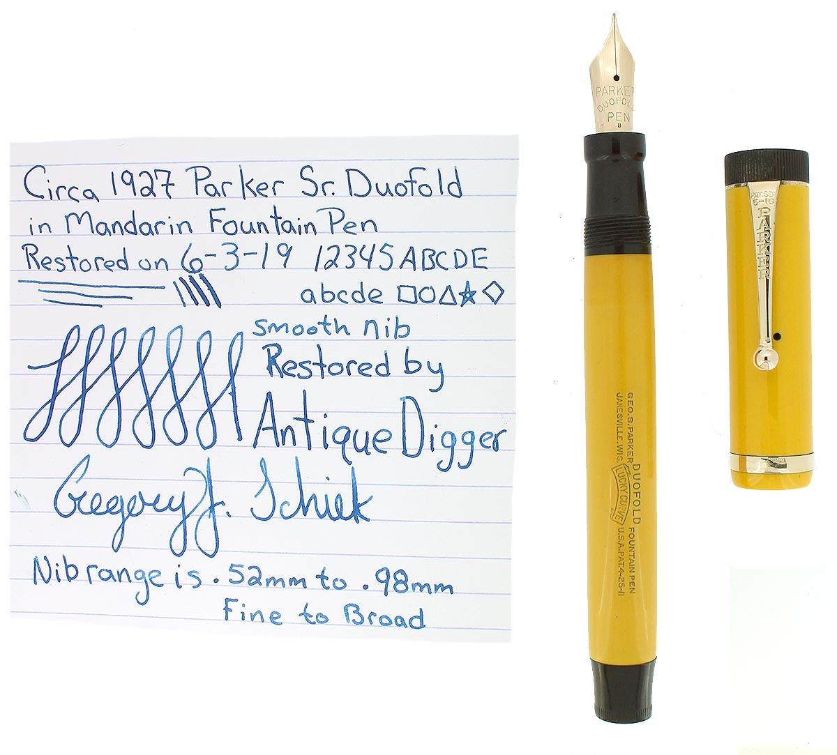 CIRCA 1927 DUOFOLD SENIOR MANDARIN YELLOW FOUNTAIN PEN F TO B NIB RESTORED OFFERED BY ANTIQUE DIGGER
