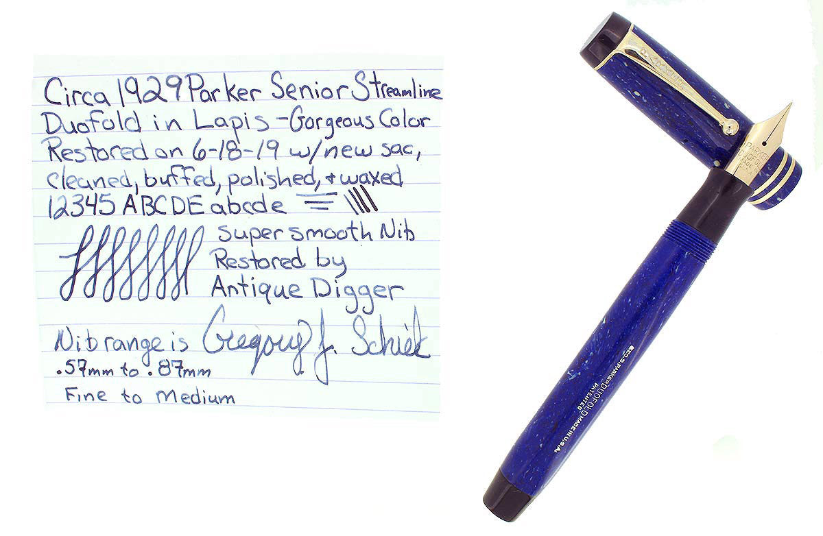 CIRCA 1929 DUOFOLD STREAMLINE SENIOR LAPIS FOUNTAIN PEN F TO B NIB RESTORED OFFERED BY ANTIQUE DIGGER