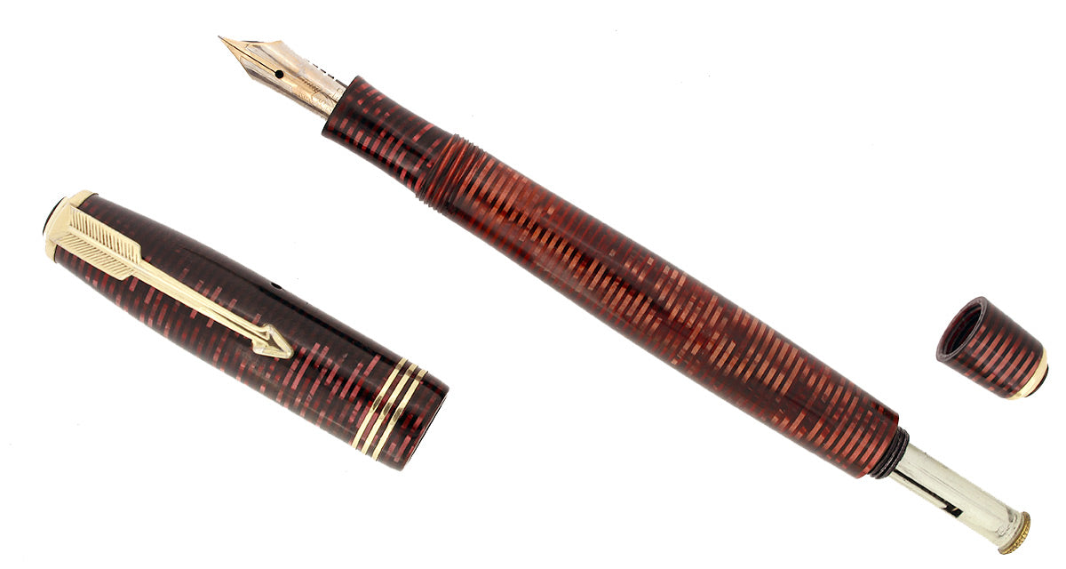 1934 PARKER BURGUNDY PEARL VACUMATIC DOUBLE JEWEL FOUNTAIN PEN RESTORED OFFERED BY ANTIQUE DIGGER