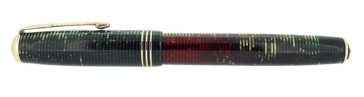 1936 PARKER EMERALD PEARL STANDARD VACUMATIC DOUBLE JEWEL FOUNTAIN PEN RESTORED OFFERED BY ANTIQUE DIGGER
