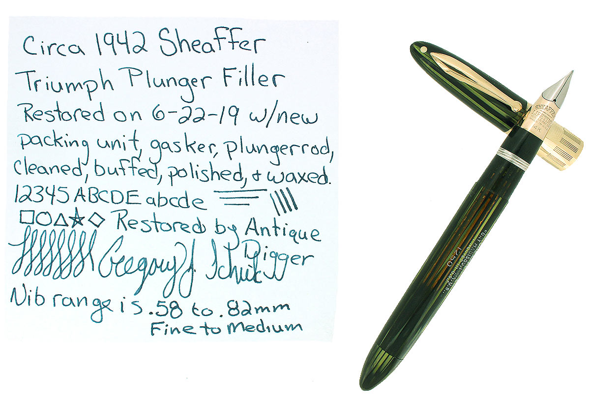 C1942 SHEAFFER TRIUMPH EMERALD PEARL LIFETIME FOUNTAIN PEN PLUNGER FILL RESTORED OFFERED BY ANTIQUE DIGGER