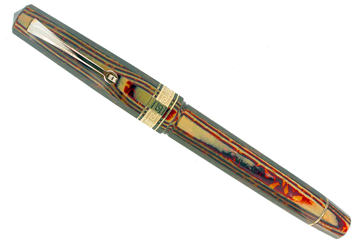 1997 OMAS EXTRA PARAGON ARCO BRONZE CELLULOID FOUNTAIN PEN IN BOX NEVER INKED OFFERED BY ANTIQUE DIGGER