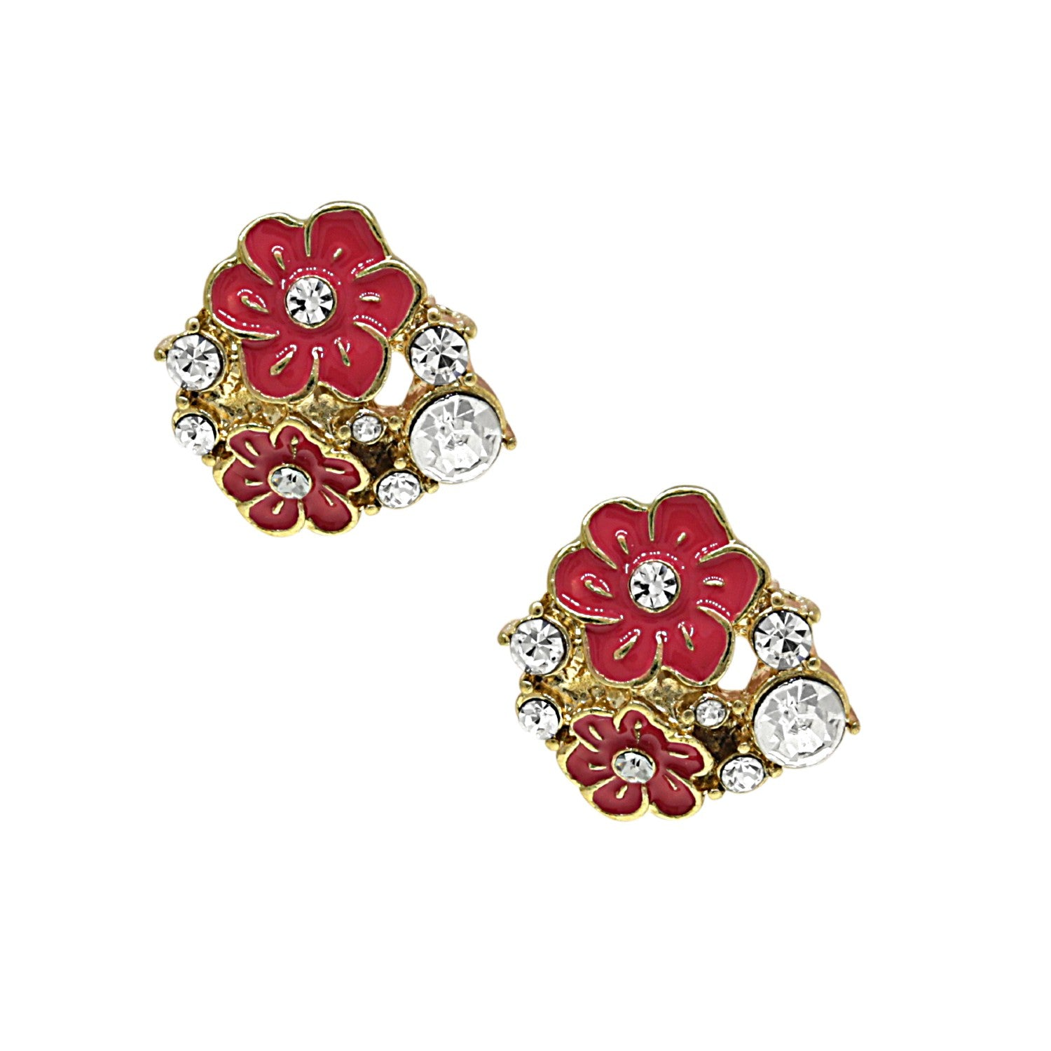 Gold-Tone Orange and Crystal Enamel Flower Button Earrings