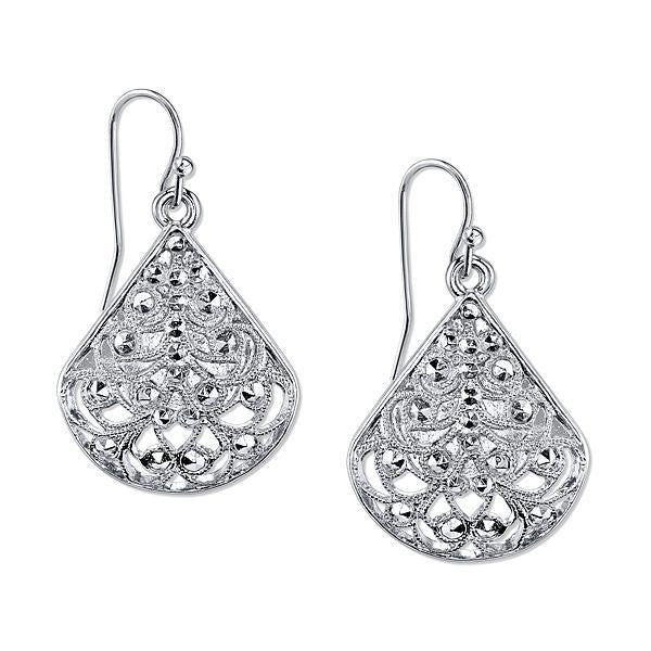 Silver-Tone Filigree Teardrop Earrings