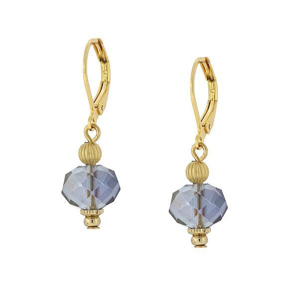 Gold-Tone Blue Drop Earrings