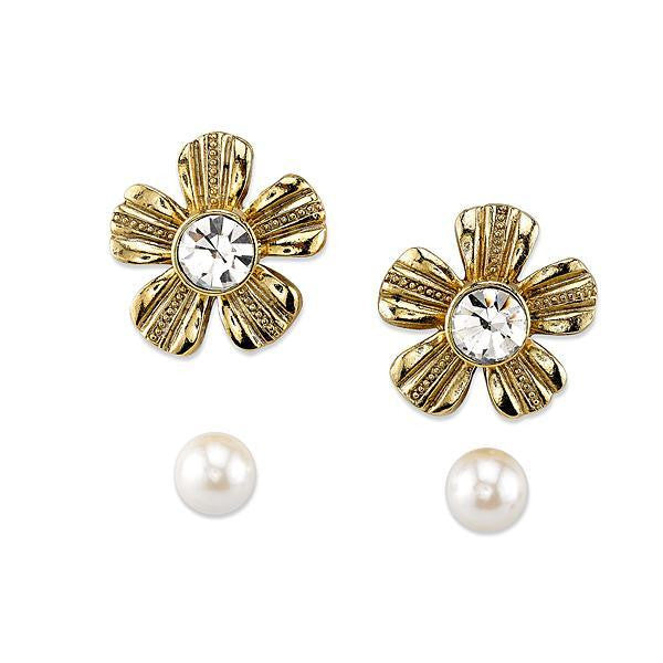 Gold-Tone Crystal and Faux Pearl Flower Earrings Jacket Set