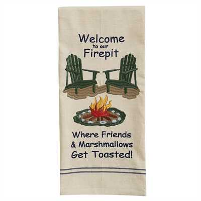 Welcome to Our Firepit Embroidered Dishtowel