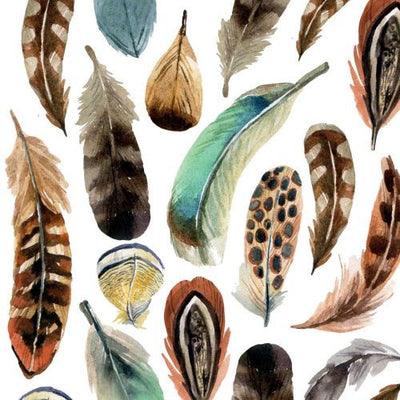 Aquarell Feathers (Beverage Napkin)