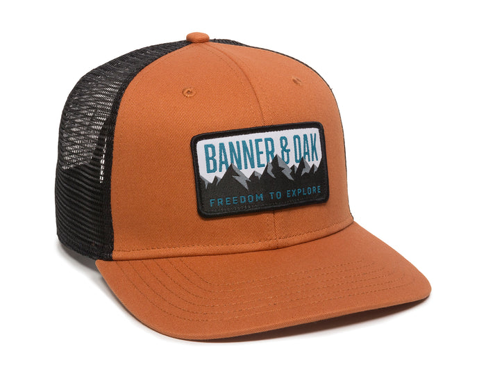 Bighorn Scout Patch Snapback Trucker Hat Orange Front Left View