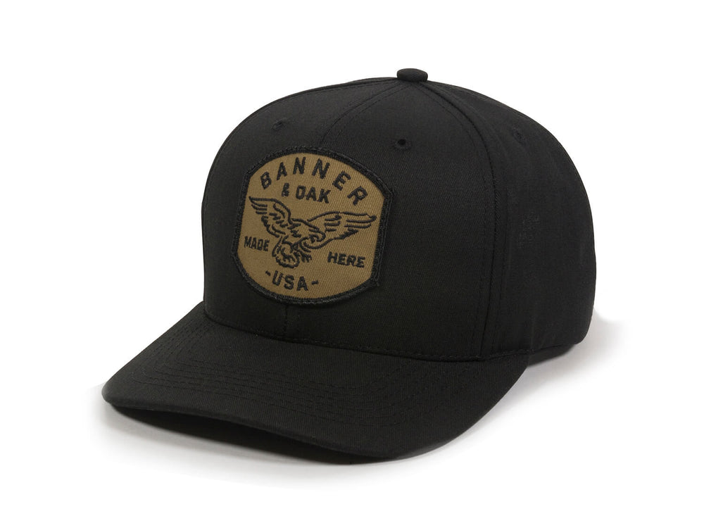 Eagle Scout Patch Snapback Cap Black Front Right View