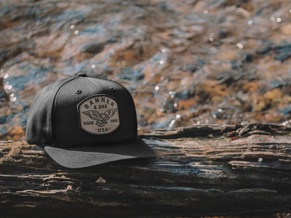 Eagle Scout Patch Snapback Cap Black Lifestyle Image