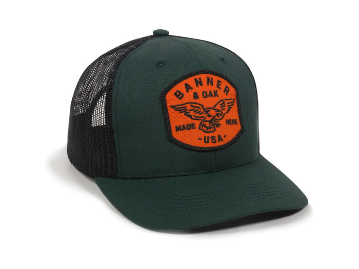 Eagle Scout Patch Snapback Trucker Hat Spruce Green Front Left View