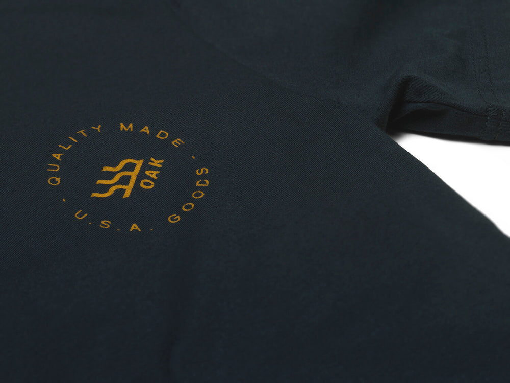 Grit Crewneck T-Shirt Navy Blue Left Chest View