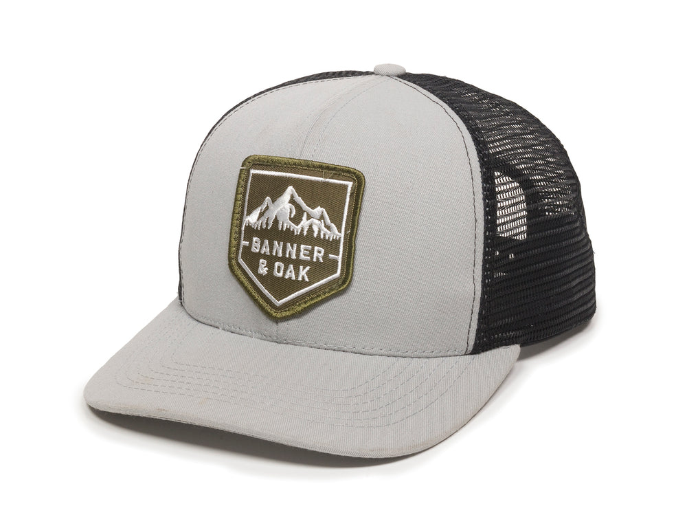 Sierra Scout Patch Snapback Trucker Hat Gray Front Right View