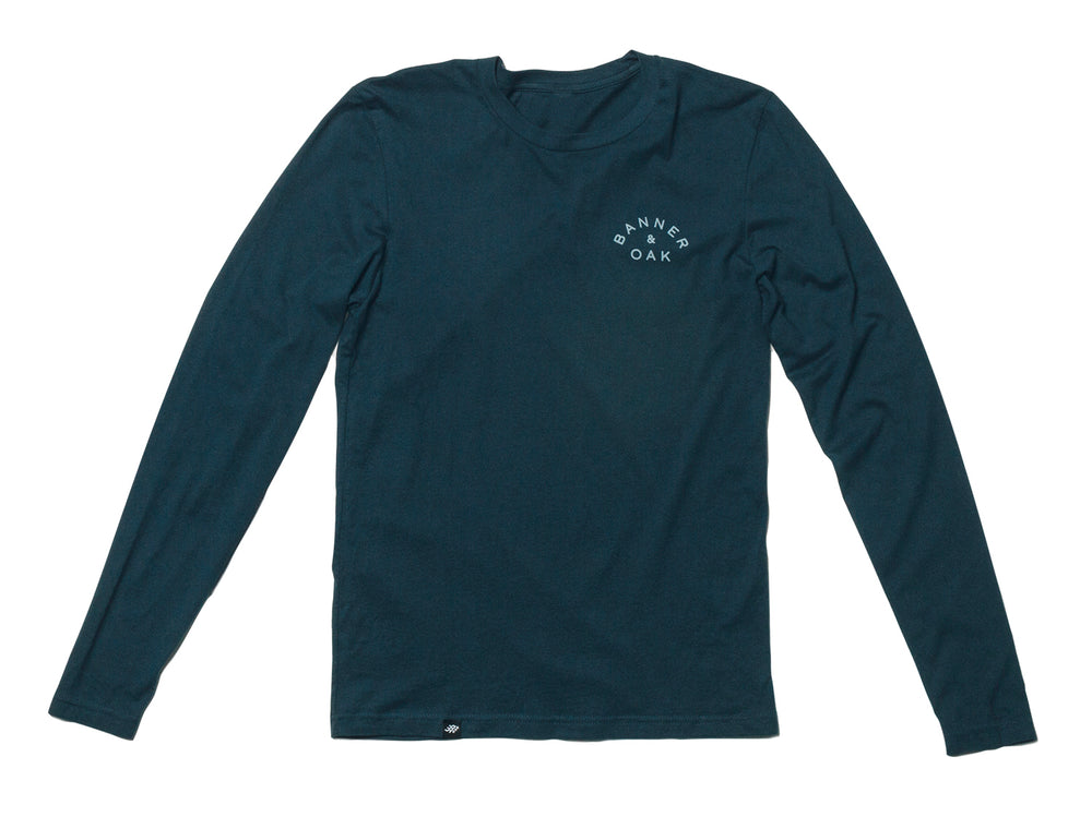 Traveler Crewneck Long Sleeve T-Shirt Indigo Blue Front View