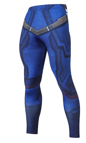 Men's Captain America Steve Rogers 'Blue' Compression Leggings Spats