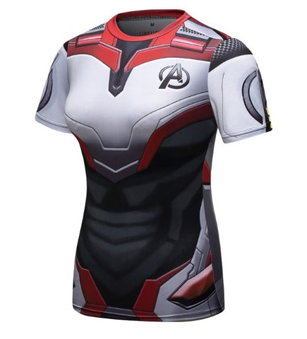Women's Avengers End Game 'Quantum Realm Suit' Elite Short Sleeve Compression Rashguard