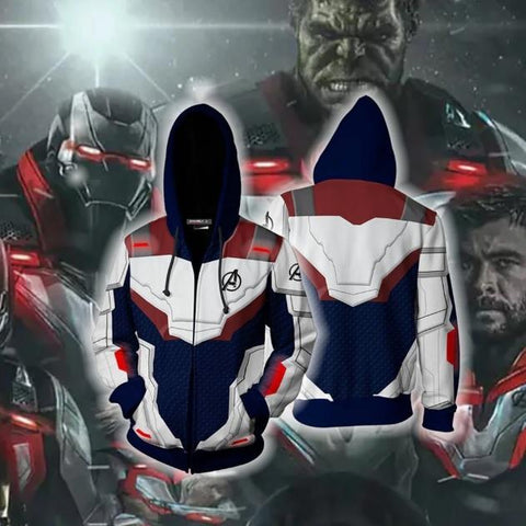 Avengers End Game 'Quantum Realm Suit' Blue Zip Up Hoodie-RashGuardStore