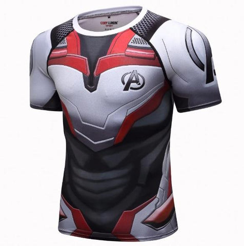 Avengers End Game 'Quantum Realm Suit' Elite Short Sleeve Compression Rashguard-RashGuardStore