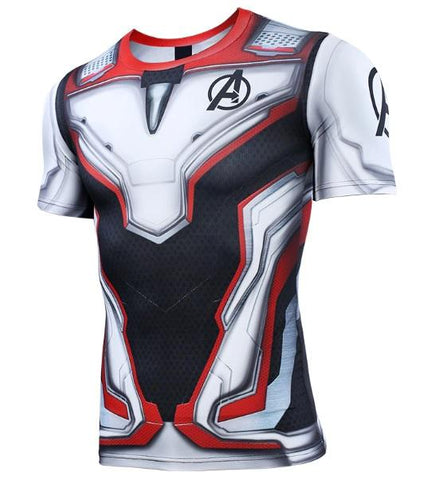 Avengers End Game 'Quantum Realm Suit' Premium Short Sleeve Compression Rashguard-RashGuardStore