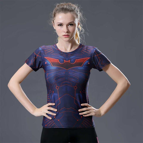 Batman Beyond Women's Animated Short Sleeve Rash Guard-RashGuardStore
