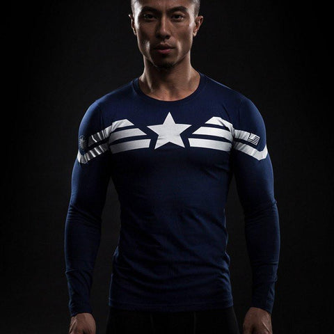 Captain America Bootcamp Long Sleeve Compression Rash Guard-RashGuardStore