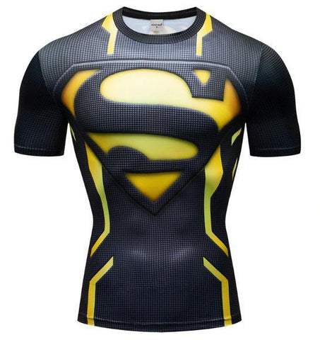 "Superman ""Powersuit Black/Yellow"" Premium Dri-Fit Short Sleeve Rashguard-RashGuardStore"