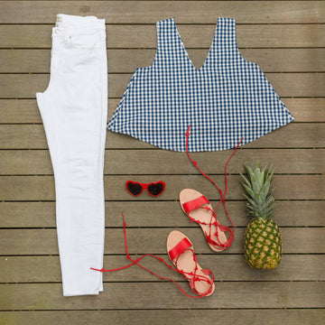 Christine (Swing) Top- Navy Gingham