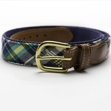 Patchwork Madras Leather Tab Belt- Tod's Point