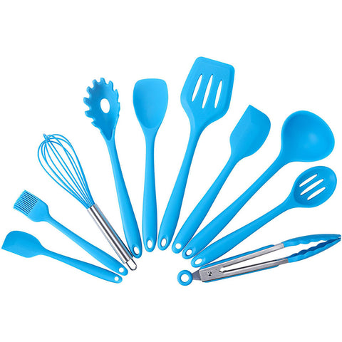 10 Piece Silicone Kitchen Tool Set - Blue