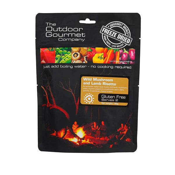 The Outdoor Gourmet Company - Wild Mushroom and Lamb Risotto 2 Serve - Gourmet Freeze Dried Meal