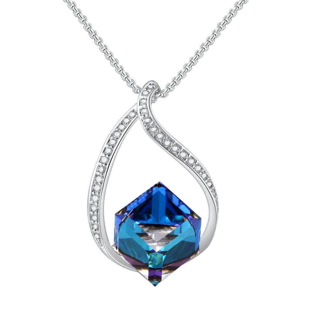 Swarovski Crystal Heart of Ocean Blue Pendant Necklace