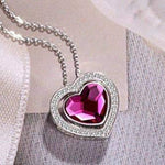 Sterling Silver Double Heart  Necklace Red Gift