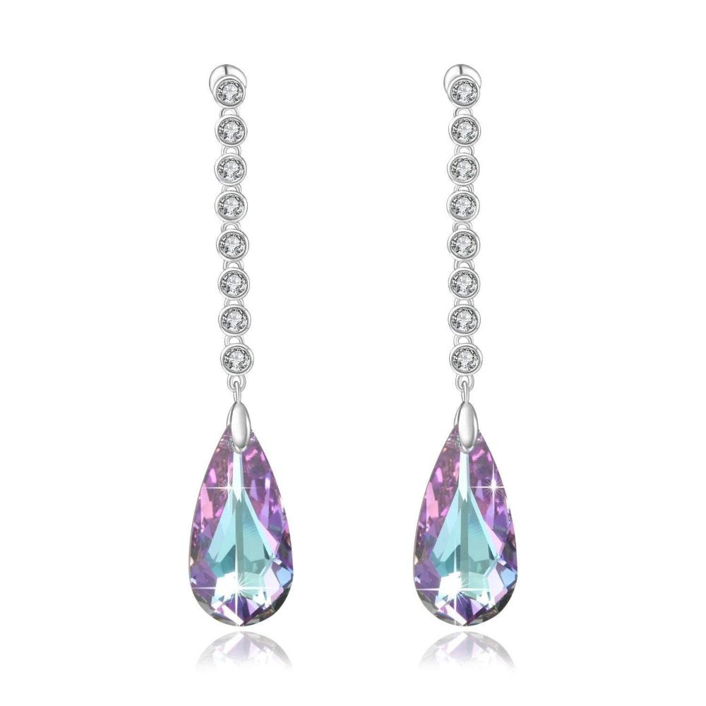 Swarovski Crystal Tear Water Drop Stud Earrings| Purple