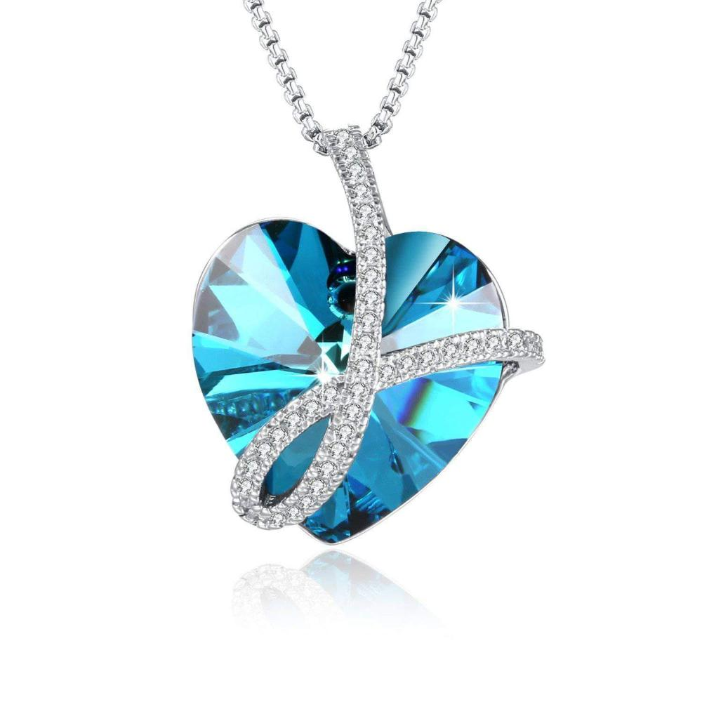 Swarovski Crystal Heart of Ocean Pendant Necklace Jewelry
