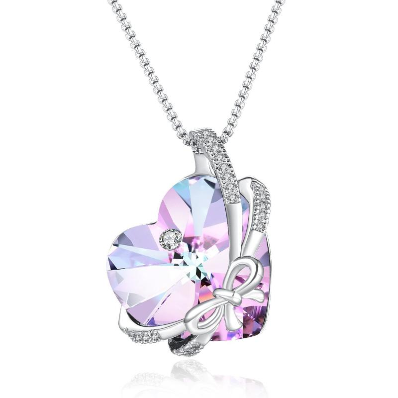 "Swarovski Crystal ""Dream Butterfly Lover""  Pendant Necklace, Purple, Green"