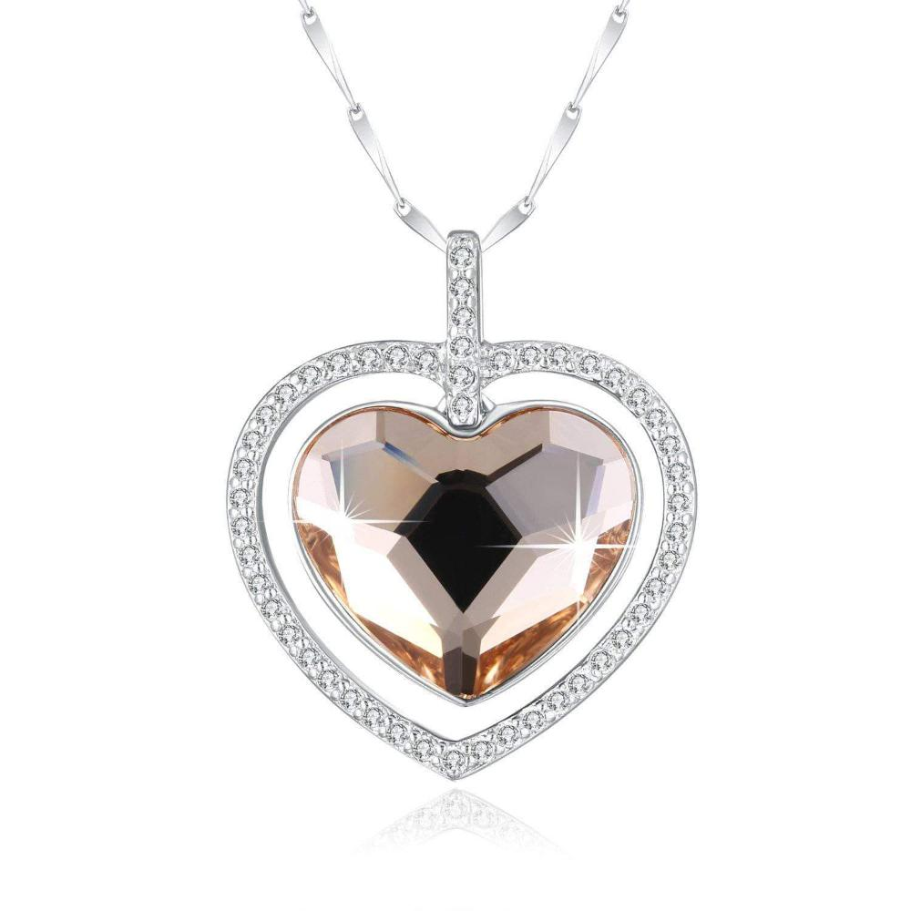 Swarovski Crystal 925 Sterling Silver Double Heart  Necklace, Champagne Golden