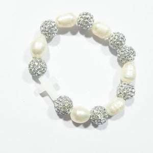 Heart Me Ivory Cross Freshwater Pearl Christening Communion Bracelet