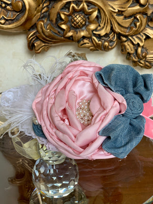 Denim Shabby Headband
