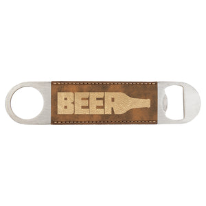 Brown Leather Bottle Opener - Gold Engraving