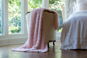 Lili Alessandra Throws & Blankets Throw / Blush Sheer GUY BASKETWEAVE THROW